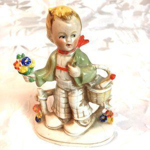 Hummel Vtg German Porcelain Boy at Fence Figurine